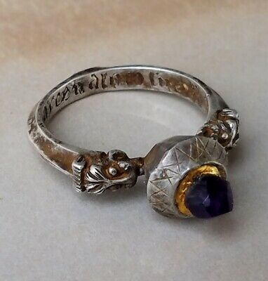 Unique Medieval Templar Silver and Gold ring natural stone Amethyst inscription