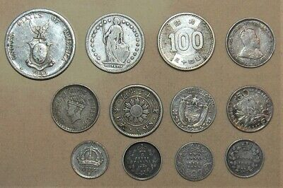 Lot Of 12 Vintage Foreign Silver World Coins - Lot #718