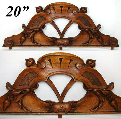 "Antique French Carved Walnut 19.75"" Furniture, Architectural Cornice, Salvage"