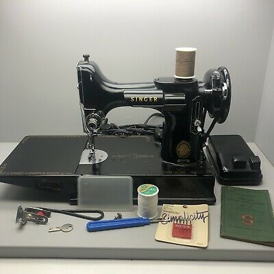 1947 Singer Featherweight Sewing Machine With Case And Attachments Booklet Vtg