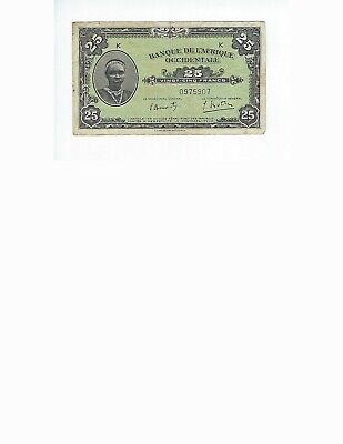 FRENCH WEST AFRICA  25 FRANCS 1942  P-30a   F-VF