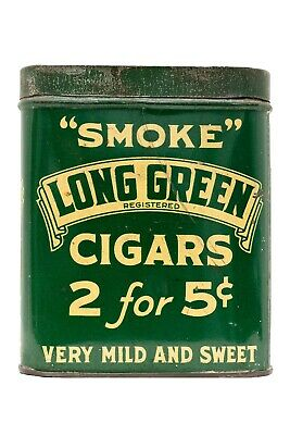 "Scarce 1910s ""Long Green"" litho 50 cigar humidor tin in good condition"
