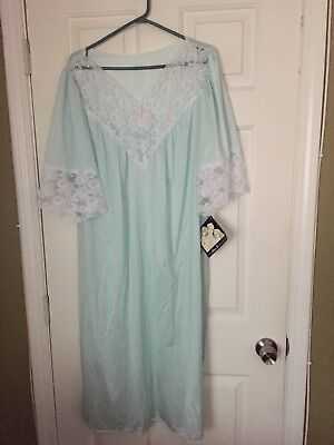 Alan R Collection 1X Green Lace  Nightgown Sleepwear Plus Nwt Vintage