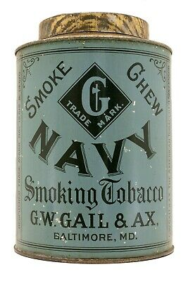 "Rare 1900s ""GW Gail & AX'S Navy"" litho knob top tobacco tin in very good cond"