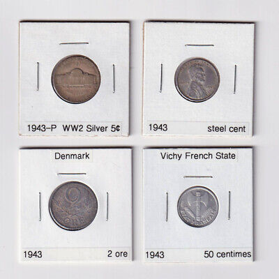 WW2 Coins Minted 1943: US Silver Nickel & Steel Cent, Danish 2 Ore, French 50 C