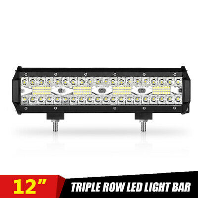Tri-Row 12inch 240W LED Work Light Bar Flood Spot Combo Off-road Truck SUV 4WD