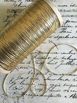 """4 yd Vintage Antique French Bright Gold Oval Tinsels Metallic Thread Flyty 1/16"""""""