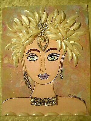 Broken Jewelry Embellished OOAK Altered Art Painting Beautiful Lady 11x14