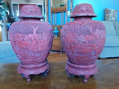 Pair of Large Antique Qing Dynasty Cinnabar Lacquer Urns Jars 18th 19th Cen.