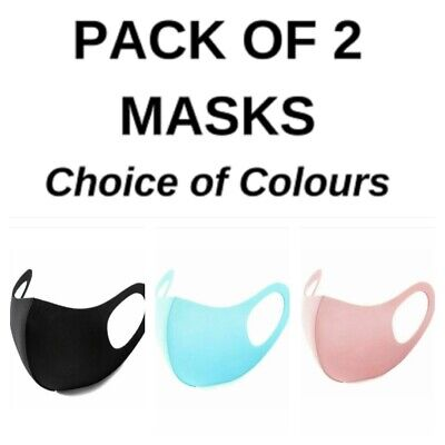 Pack of 2 Face Mask Pink/Blue Covering Washable and Reusable Fast Delivery UK