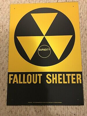 Vintage Fallout Shelter Sign 20 X 14 Metal  ORIGINAL DOD DEPARTMENT OF DEFENSE
