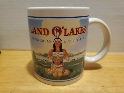 VINTAGE LAND O'LAKES Sweet Cream Butter COFFEE Cup Mug Mia Indian Maiden Logo