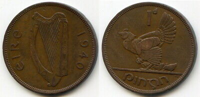 1940 Ireland One Penny 312,000 Mintage- Key Date in the series
