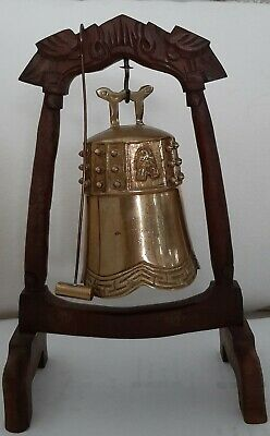 Vintage Brass Foo Dogs Hanging Gong / bell with a Wood Stand and Brass Striker