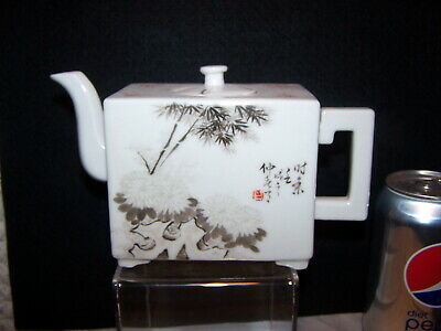Rare Square Teapot Qing Republic With Poems Artist Signed & Seal Sepia