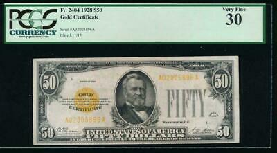 Pcgs 30 1928 $50 Gold Certificate . Clean With  Nice Margins And Problem Free