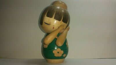 Vintage Japanese Wooden Kokeshi Doll Hand painted good condition