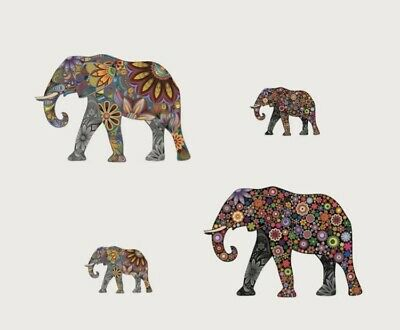"NEW 4pc Colorful Mandala Floral Elephants Wall Decor Decal Sticker Art 24""x14"""