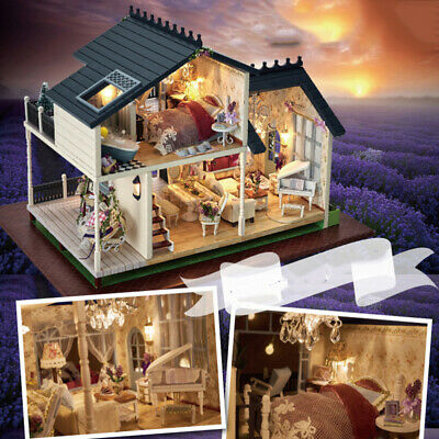 Doll Miniature Wooden House Studio Kit w/ LED Light Furniture DIY Handcraft Toys