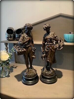 A Pair of Antique French Spelter Figures by Georges Omerth (1895-1925)