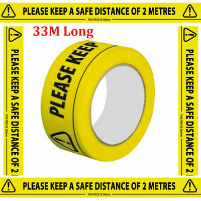 Safety Tape Social Distancing KEEP DISTANCE OF 2 METRES hazard Tape (6 Rolls)