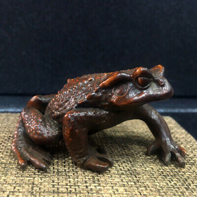 Collectable China Old Boxwood Hand-Carved Frog Delicate Interesting Decor Statue