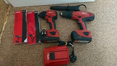 Hilti Sfh 22-a Hammer Drill And Sid 22-a Impact Drive Two Batteries And Charger