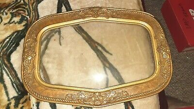 Antique Oblong 6 Sided Convex Bubble Glass Picture Frame Dated Jul 16th 1888