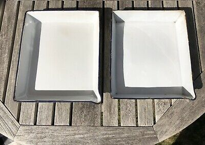 2 Large Blue & White Enamel Photographic Photography Developing Processing Trays