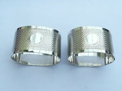 Superb Pair Of Hallmarked Solid Silver Matching Napkin Rings 57.4 Grams