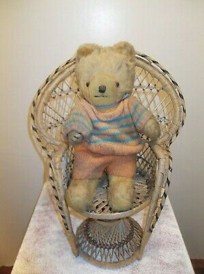 Wicker Rattan Cane Peacock Chair For Dolls Teddy Bears Plants Vintage 70S 80S
