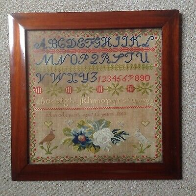 Antique Childs Framed Linen Sampler By Ann Asquith Aged 13 Years 1863