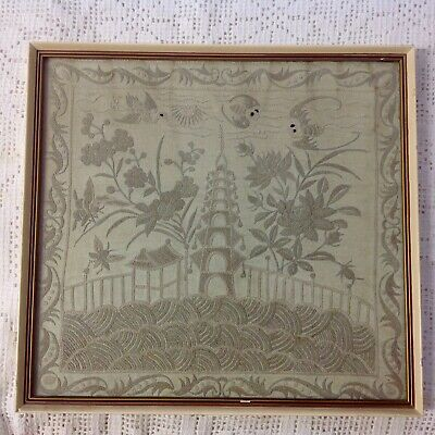 Chinese Silk Embroidery, Antique In Vintage Frame.