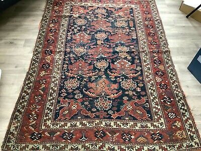 Antique Hand- Woven Oriental Heriz Rug/Carpet Natural Red/Blue Colours