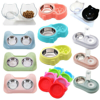 Non-slip Cat Double Bowls w/Raised Stand Pet Food Water Bowl Cats Dog Feeder UK_