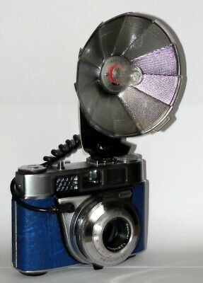 Vintage Kodak Retinette 1B Camera. & Flash Unit. Blue Imitation Leather Covered