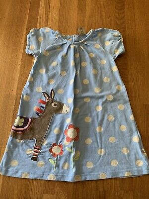 Frugi Girls Dress Age 2-3 Years Blue Dot Horse Organic Cotton