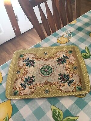 Daher Decorated Tray Metal Vintage Made In England Yellow With Flowers