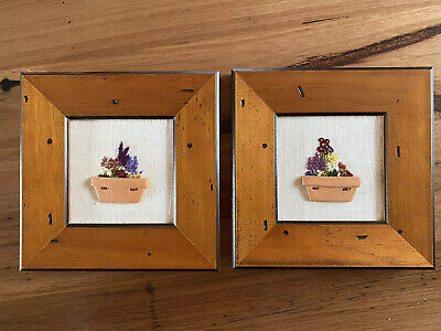 Framed Embroidery Flowers With Terracotta Pot Buttons