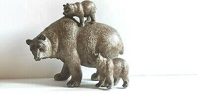 Poly Resin Brown Mother Bear with Yearling Bear and Bear Cub Sculpture
