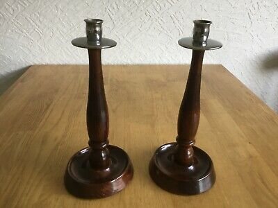 vintage pair of wooden candle stick holders
