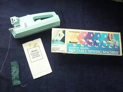 Vintage Retro  Ronco Cordless Electric Portable Sewing machine.  Boxed