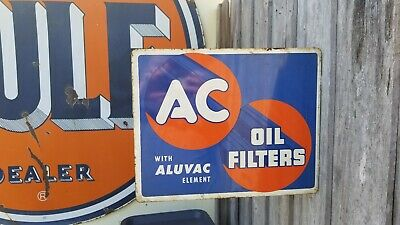 Vintage 1950s AC Oil Filters Double Sided Flanged Sign Gasoline Gas Service