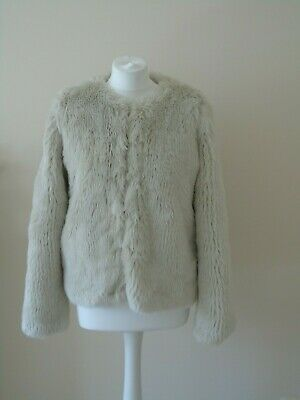 Next Faux Fur Ladies Cream Jacket Size 12 Womens Very Cosy Coat