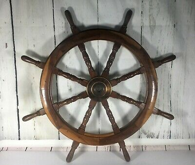 "Rare Vintage 8 Spoke 36"" Wooden Ship/ Boat Steering Wheel 1"" Square Axle Whole"