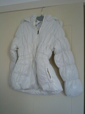 New Pumpkin Patch Girl Padded White Almond Cream Coat Jacket Hooded Size 8 Years