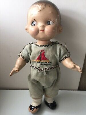 "VINTAGE 1940s COMPOSITION DOLLY DINGLE CAMPBELL SOUP KID GIRL 12"" DOLL NICE"