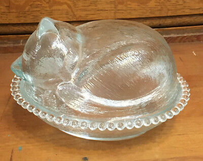 Vintage Clear Glass Nesting Kitty Cat Kitten Sleeping On Candy Dish