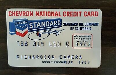 Vintage CHEVRON STANDARD 1960's NATIONAL CREDIT CARD gas charge.