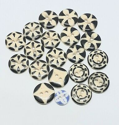 Lot Of 20 Antique Stenciled China Buttons